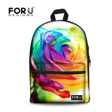 New Stylish 3D Flower Print School Bags For Girls Designer Teenage Floral font b Schoolbag b