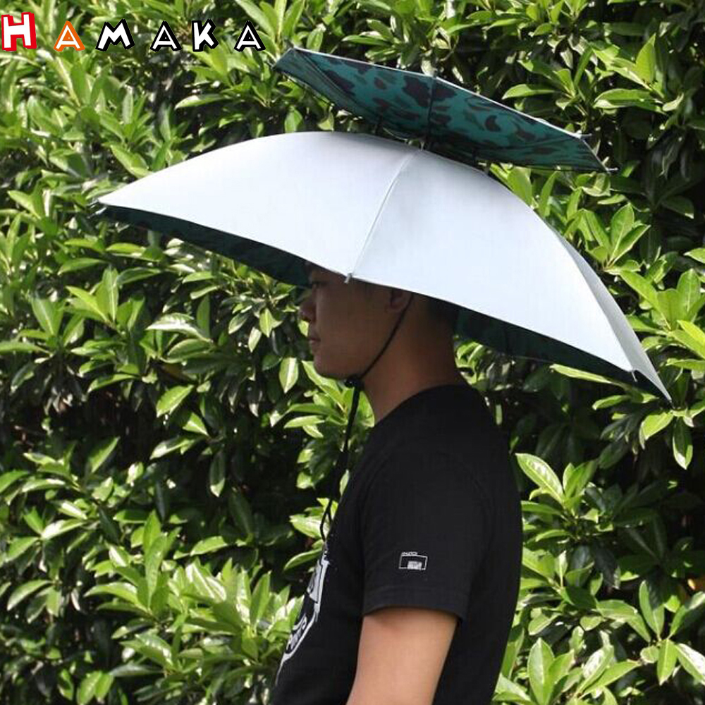 cb0816c96c622 Outdoor 2 Layer Folding Sun Rain Umbrella Cap Hiking Fishing Camping Travel  Hat