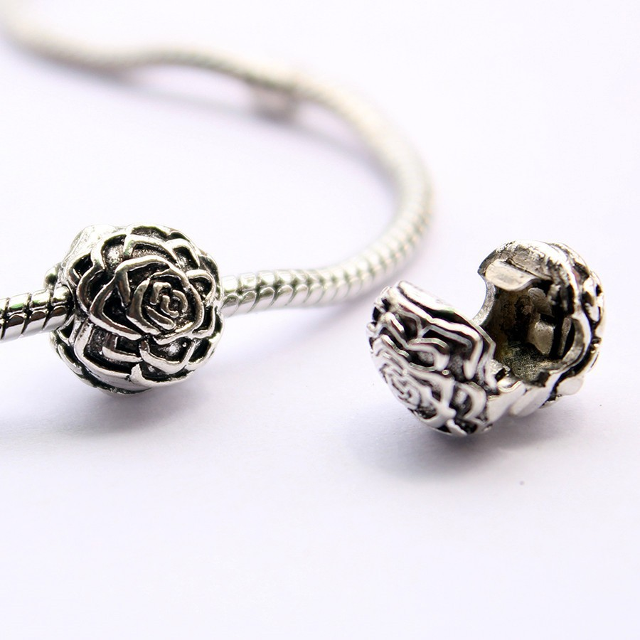 Bead Charms For Bracelets: 1pcs Freeshipping 925 Silver Plated Flower Safety Stopper