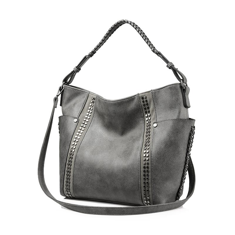 REALER большая женская сумка на плечо высокого качества из искусственной кожи, женские сумки с короткими ручками, сумка через плечо с заклепка...(Китай)