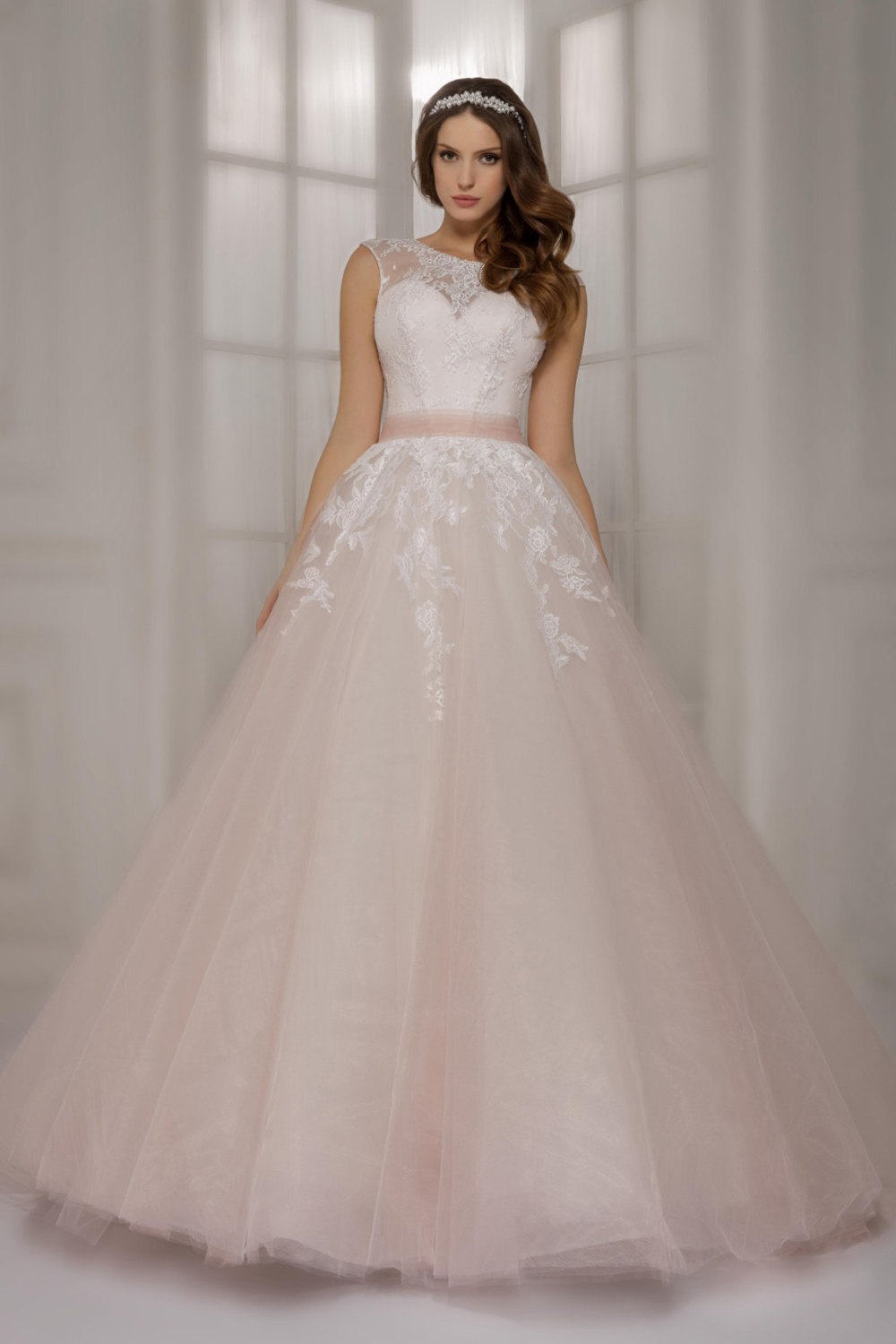 Newest light pink lace ball gowns Wedding Dresses with sashes Colored Appliqued bodice V back sleeveless - Pink Wedding Gowns