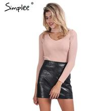 Simplee Elegant halter knitted sweater Autumn winter white short pullover women tops Slim v neck black jumper casual pull femme