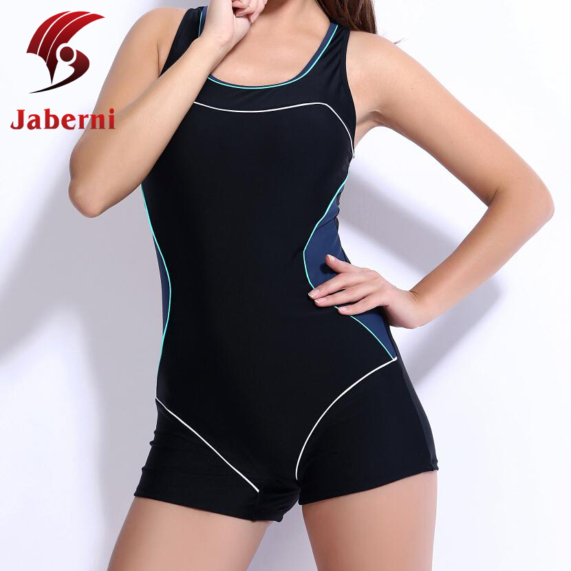 cd33ab0fe69e4 Fashion Chic Copmpetition Boxer Swimsuit Sexy Black One Piece Swimming Gym Swimwear  Sport Racing Women Water Clothes Plus Size