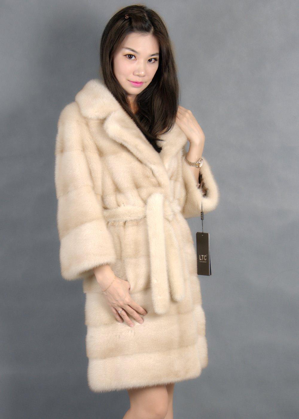 Genuine mink fur coat coat fur of yellow 90cm turn down collar mink fur coats natural