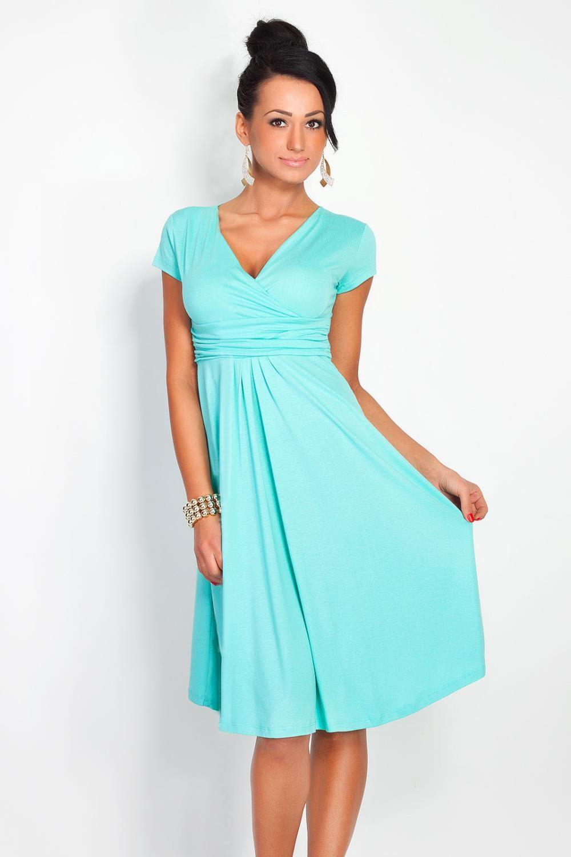 high waist V neck knee length Candy color dresses New ...