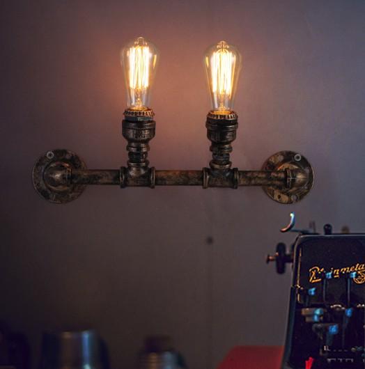 Industrial Interior Lighting Fixtures: Loft Style Water Pipe Lamp Industrial Vintage Wall Light