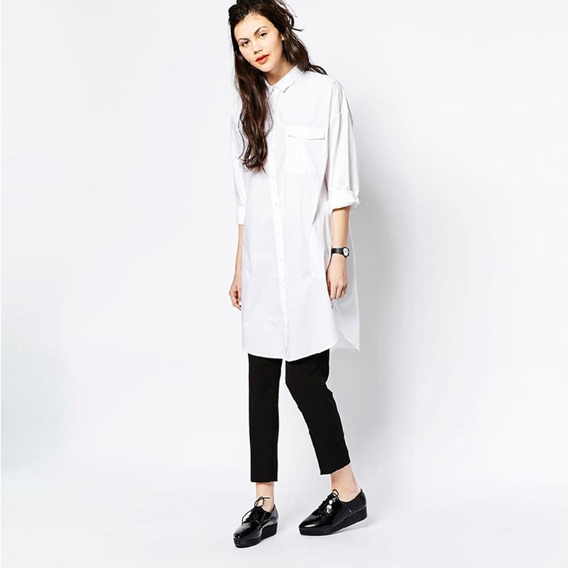 3a96449e14cf Aliexpress.com Buy White Shirt Dress Women Boyfriend Style Long Sleeve Dresses  Loose Casual .