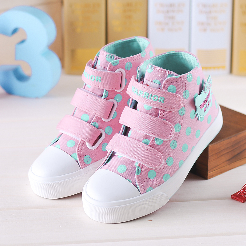 2016 New Spring Canvas Children Shoes for Girls Princess Shoes Polka Dot Fashion Sneakers Kids Casual Student Shoes H741