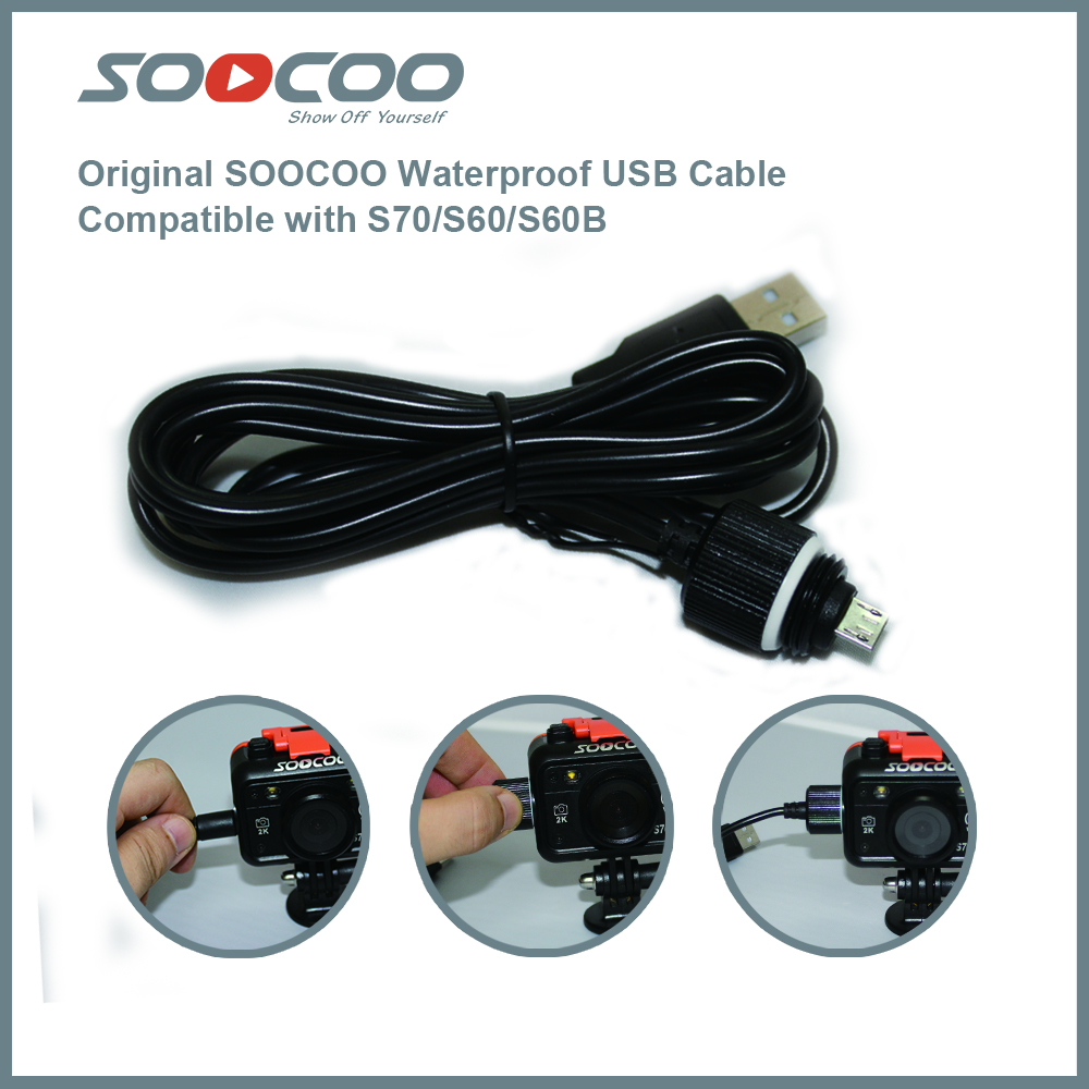 2015 Original USB Camera Cable Underwater Charging Cable Waterproof For Soocoo S60 Camera & Photo Accessories