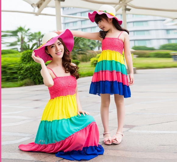 2015 New Rainbow Color Tupe Gallus Dress Family Matching Outfits Family suit Mother and Daughter Dress