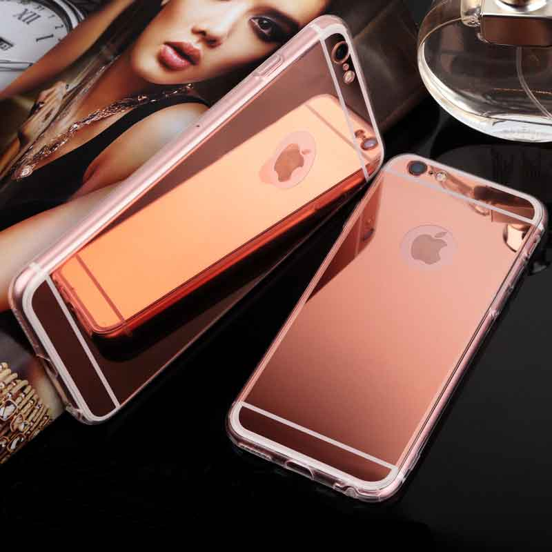 Fashion Lady Phone Accessories Luxury PC Electroplate Mirror Soft TPU Case For Iphone 6 6S 4