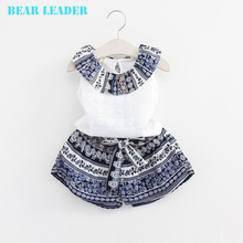 Bear Leader Grils Fashion Clothing Sets 2016 Brand Girls Clothes Kids Clothing Sets Sleeveless Whirte T-Shirt + Short 2Pcs Suits