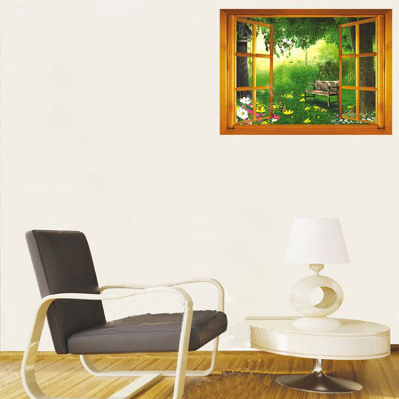Removable Vinyl 3D Effects Window Natural view Green Forest Bench and Flowers Wall Stickers Home Decor Wallpaper Poster