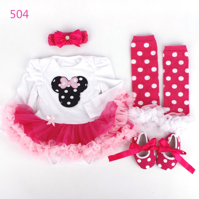 2016 New Fashion Baby Costume Romper Girls tutu dress Dress Headband Colorful Socks Shoes 4pcs Set