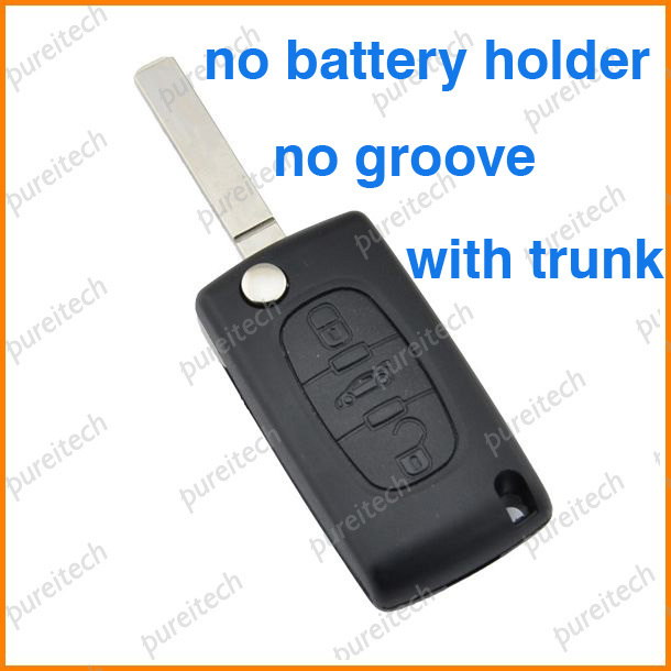 25pieces lot car flip remote key shell fob for peugeot 107 207 307 407 with trunk no battery. Black Bedroom Furniture Sets. Home Design Ideas