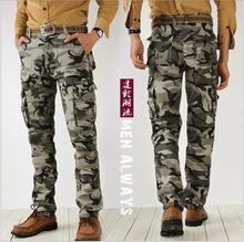 Man Casual Cotton Long Military Pants Male Men Work Cargo Overalls Loose Camouflage Pants Leisure Straight Trousers