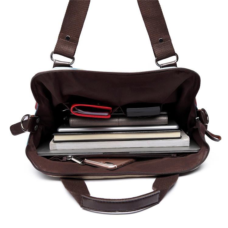 bd73a2fc82 KONO Women Handbag Canvas Rainbow Multi Color Stripes Hobo Bag Top ...