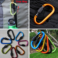 Free Shipping 5pcs lot Outdoor Multi Colors Safety Buckle 8cm D shaped Aluminum Alloy Climbing Button