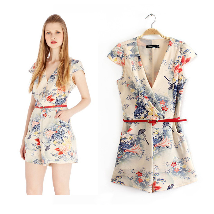 Aliexpress Com Buy New Design Simple But Elegant Short: 2014 New Design Women Elegant Front Cross Jumpsuit Short