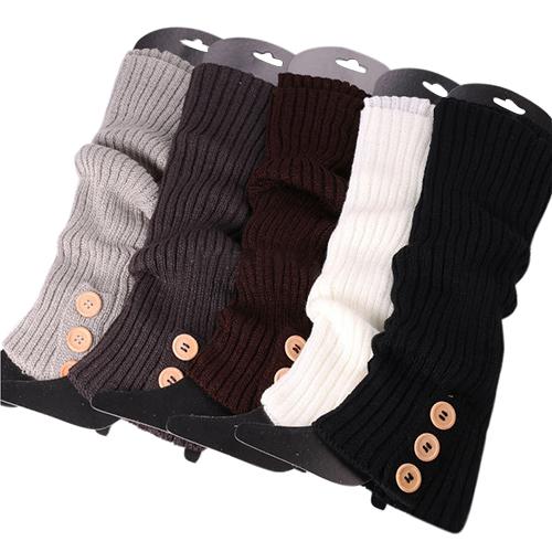 Женщины зима пуговица вязать гетры длинная загрузки обувь крышка чулок 5WHV