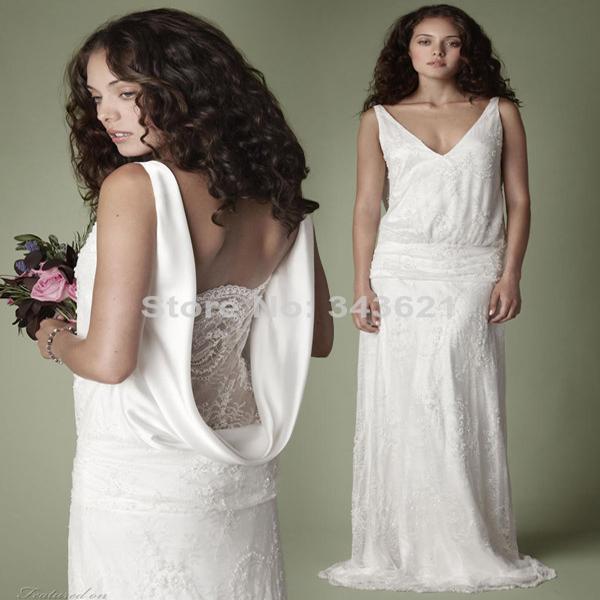 Graceful Sheath Wedding Dresses 2015 Summer A Line V Neck: 1920s Style Elegant Vintage Lace Wedding Dress V Neck