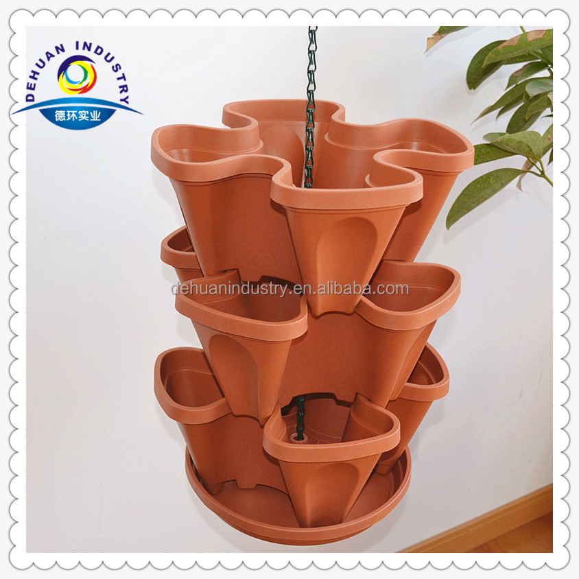 3 Tier Strawberry Planter: Hanging Basket 3 Tier Flowerpots For Balcony Strawberry