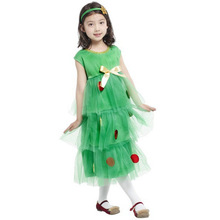 7 Sets/lot Free Shipping Kids Girls Christmas Tree Costumes Carnival Halloween Masquerade Fancy Dress Children Cosplay Clothes