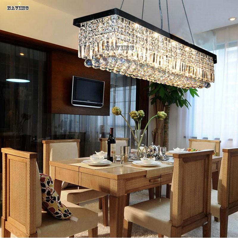 DIY Modern Luxury Crystal Chandelier LED Light Fixture Lamp Square Shape Lutre de Lighting For Dining