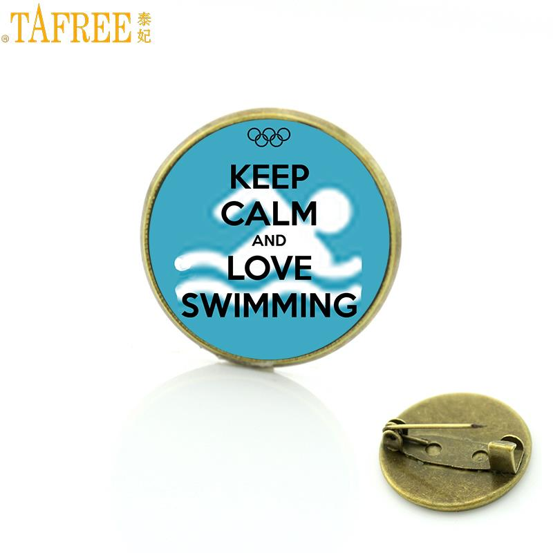 31811b88cdff14 New sales summer style Keep Calm and Love Swimming brooch ocean see blue  charms casual sports lover women men badge pin SP388