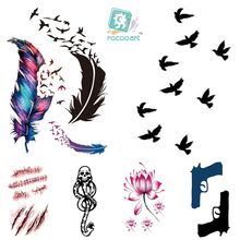 RC2239 Water Transfer Flash Fake Tattoo Sticker Sex Products Waterproof Temporary Tattoo Sticker The Wind Wind Blown Feathers