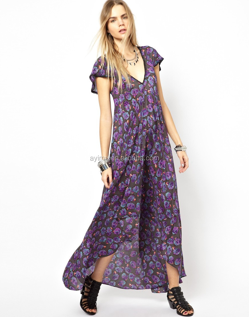 Casual Plus Size Maxi Dress Chiffon Floral Short Sleeve Long Back And Short  Front Wholesale Plus Size Maxi Dress - Buy Wholesale Plus Size Maxi ...