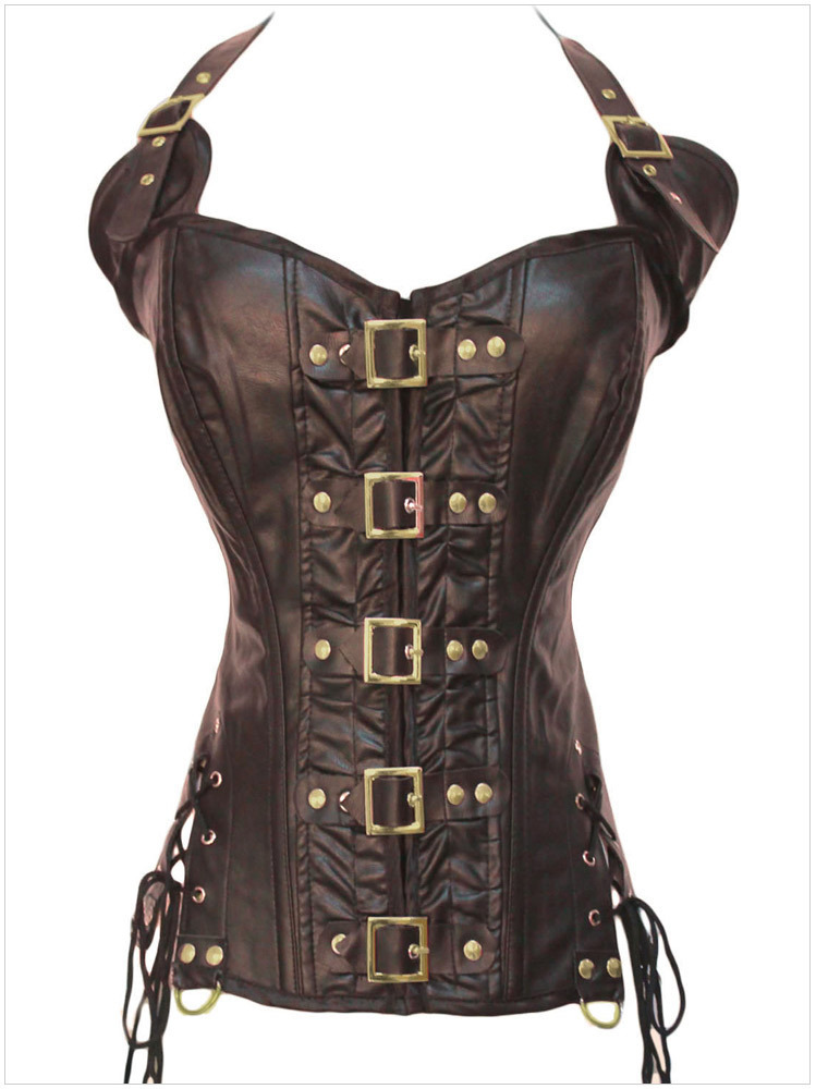 f66285ad26 Wholesale-Black Coffee Female Sexy Gothic Espartilho Corselet Corset ...