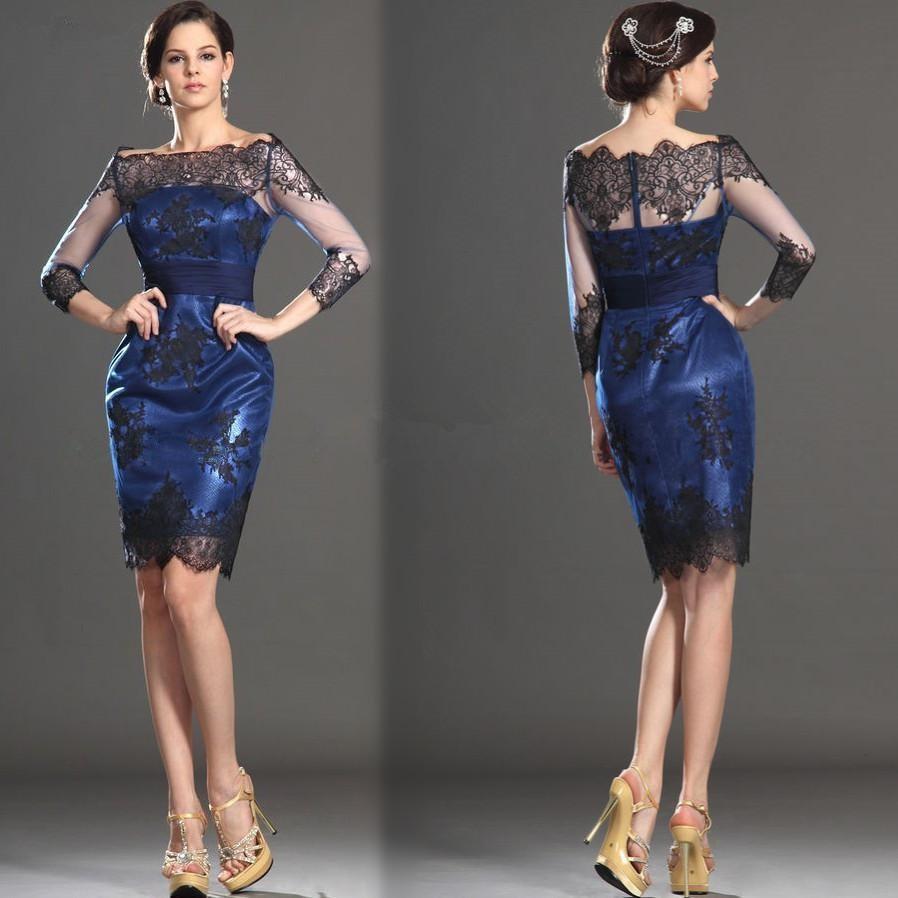 230833bcc2143 Royal Blue Knee Length Mother Of The Bride Evening Formal