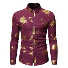Стильная розовая Мужская рубашка с цветочным принтом и золотым принтом, новинка 2020, приталенная Мужская рубашка с длинным рукавом, Мужская ...(Китай)