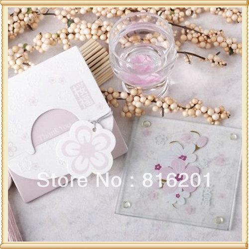 Wedding Take Home Gifts: 2pcs-set-Glass-Coaster-Wedding-For-Take-Away-Gift-Free