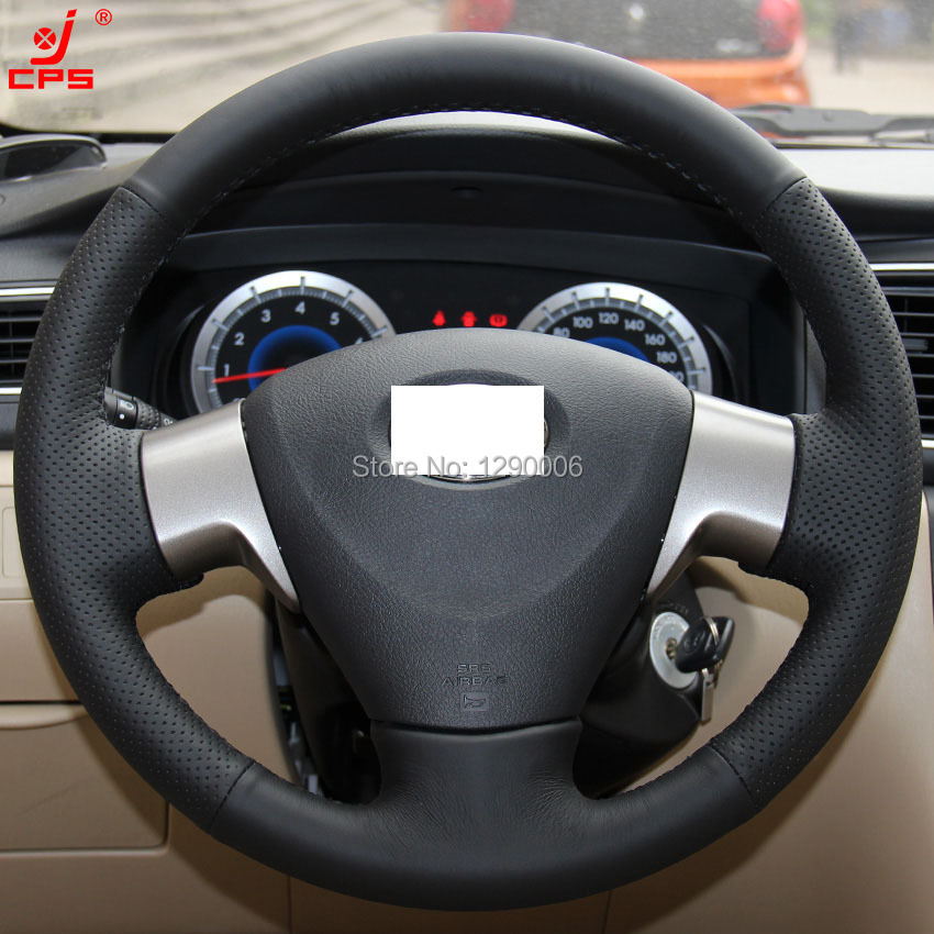 Black Artificial Leather Car Steering Wheel Cover For