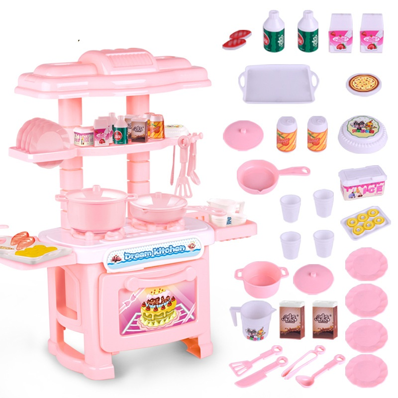 2019 Efhh Plastic Simulation Tableware Kitchen Girl Toy Blue Pink