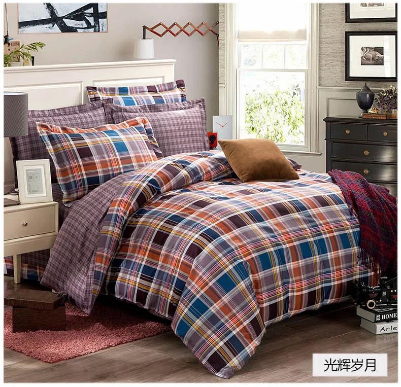 Blue grey black orange plaids bedding set 100% cotton ...