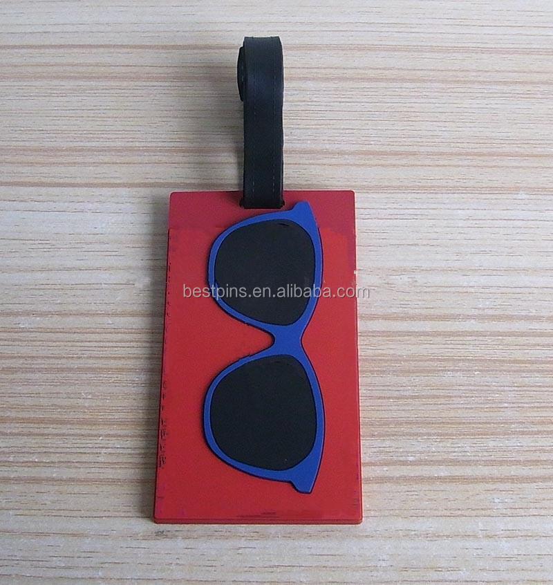 パーソナライズメガネ形状pvc手荷物タグ、ゴルフ荷物タグ太陽メガネpvc名札仕入れ・メーカー・工場