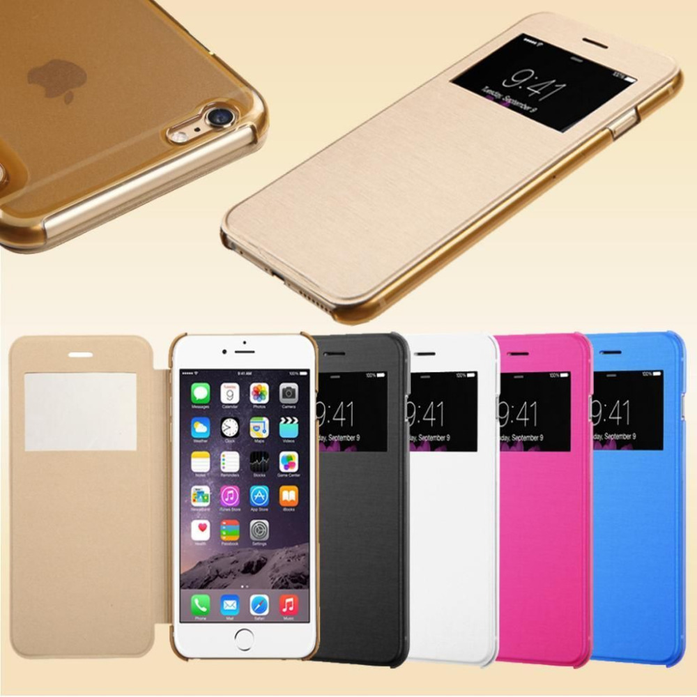 """watch 418e1 d0691 Flip Leather S View Window Clear Back Case Cover for Apple iPhone 6 4.7""""  for iPhone 6 Plus 5.5"""" Phone Bags Full Body Skin"""