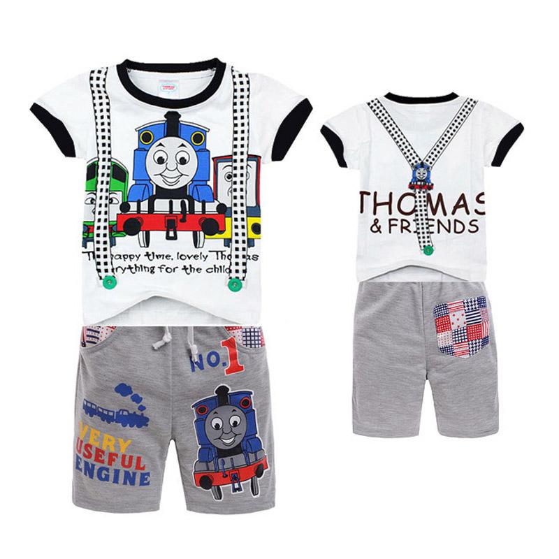 New Children sets Thomas Friends kids boys clothes Minnie hoodies t shit+ Beach Pants Summer Child Baby Boy Twinset Clothing