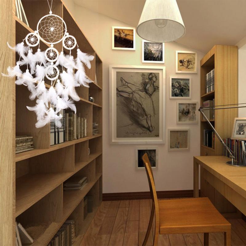 White Dreamcatcher Wind Chimes Indian Style Home Decor Dream Catcher