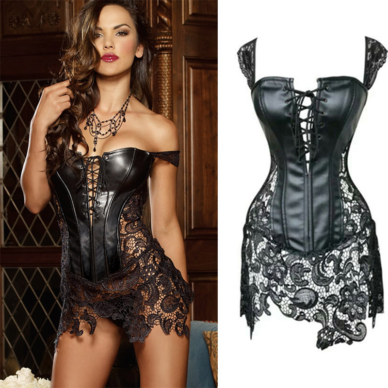 e6cd98312 sexy leather corsets skirt lace-up hollow out corsele black faux leather  lace Shaper Bustier Plus Size Steampunk Corset Dress