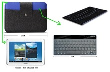 2 IN 1 Wool Felt bag with bluetooth keyboard for Huawei MediaPad 10 FHD / Link other 10.1 Inch Android Tablet  Sleeve Pouch Case