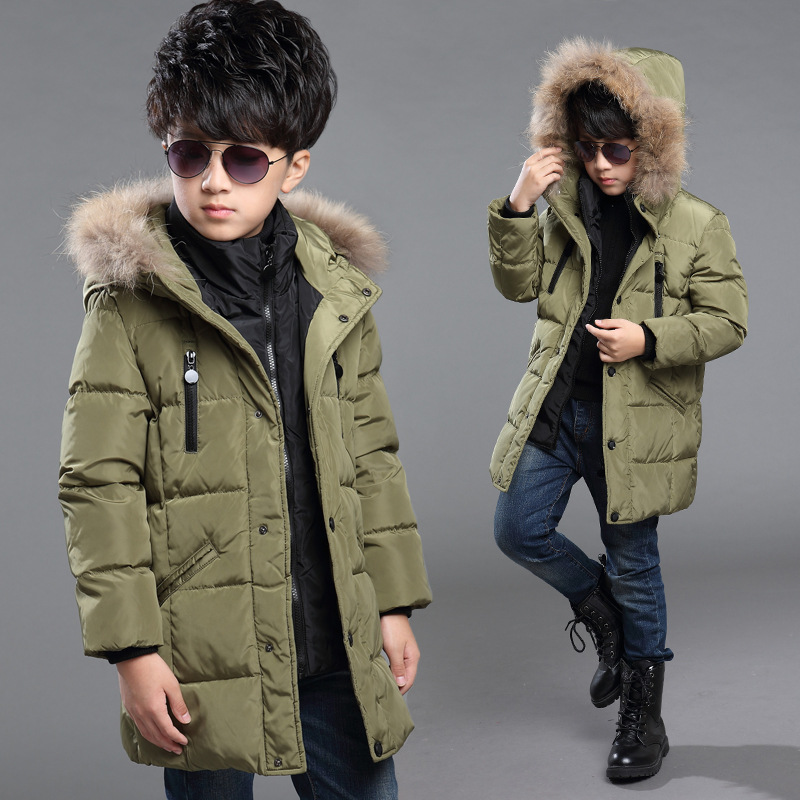 New arrival brand fashion casual boys winter jacket children s clothes long thick hooded warm boys