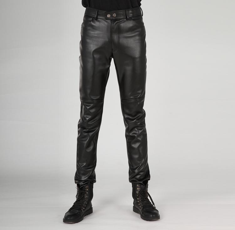 jeunes hommes faux pantalon en cuir mince pantalon en cuir. Black Bedroom Furniture Sets. Home Design Ideas