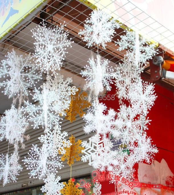 Christmas Party Decorations.Wholesale Christmas Party Decorations Supplies White Snow Snowflakes Hanging Ornaments One Set With 18cm 25cm 35cm Christmas Decoration Online