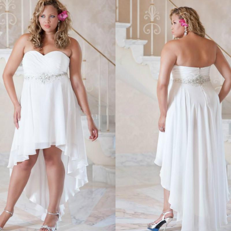 Plus Size Wedding Dresses 2016 Beaded White Chiffon Short