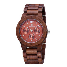 SKONE Luxury Brand Men Dress Watch Wooden Quartz Watch with Calendar Display Bangle Natural Wood Watches Best Gift Relogio