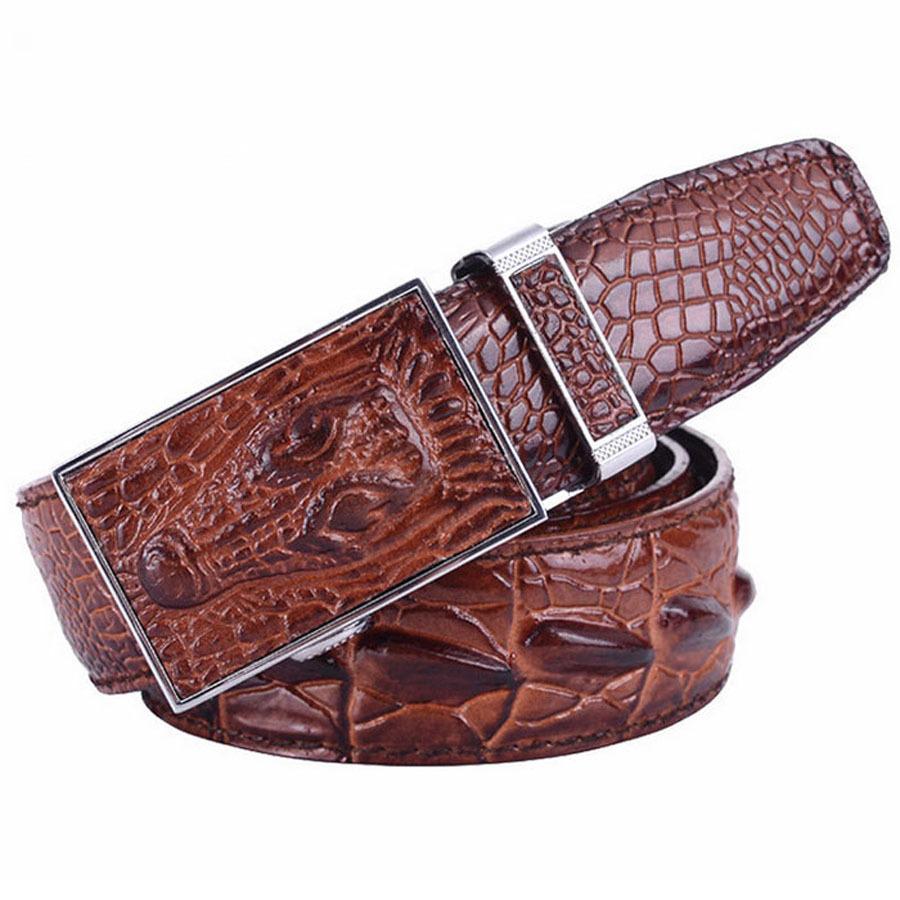 crocodile skin men belts gauranteed genuine leather auto buckle alligator skin belt for men. Black Bedroom Furniture Sets. Home Design Ideas